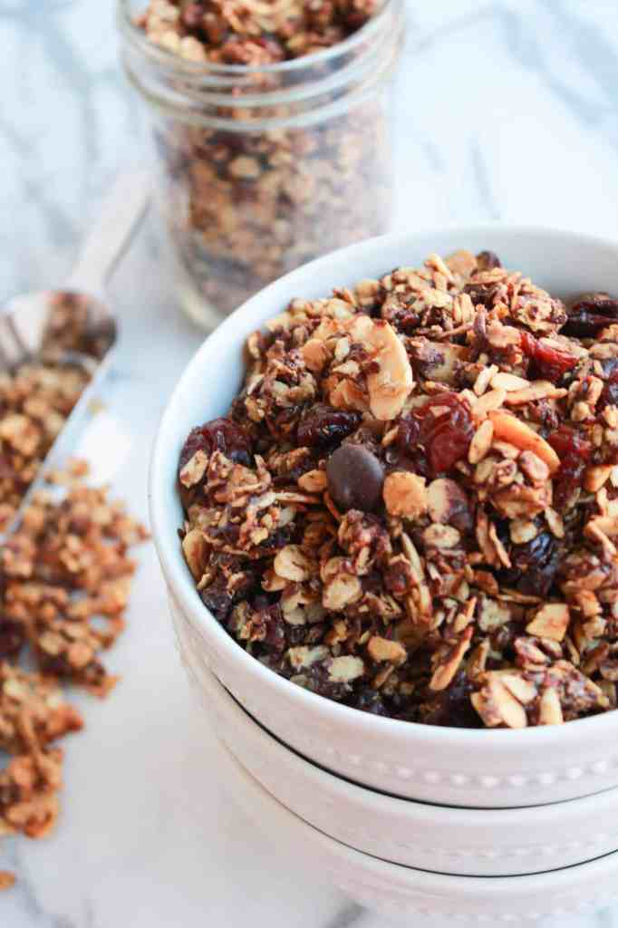 Crunchy granola loaded with quinoa, dried cherries, almonds and dark ...