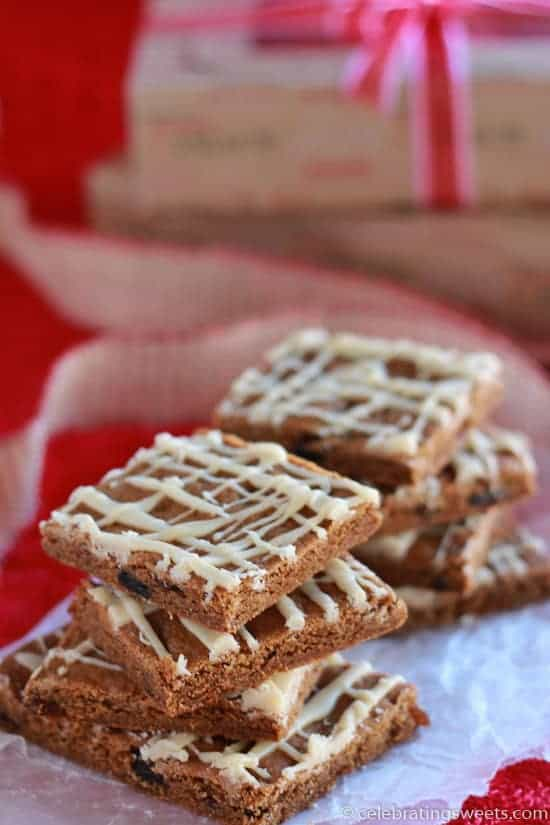 Chewy Ginger Molassess Cookie Bars - Celebrating Sweets