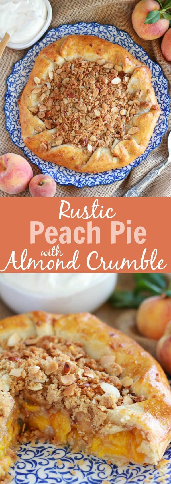 Rustic Peach Pie with Almond Crumble | Celebrating Sweets