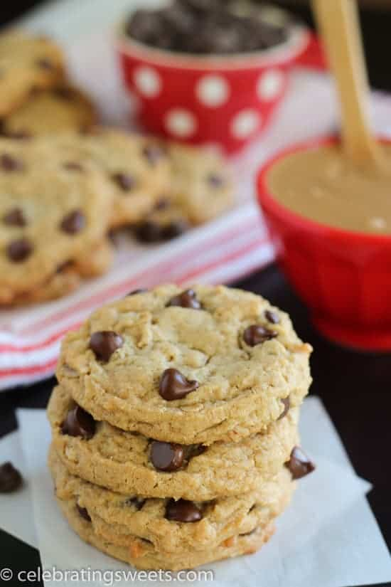Soft Peanut Butter Oatmeal Cookies made with or without chocolate chips