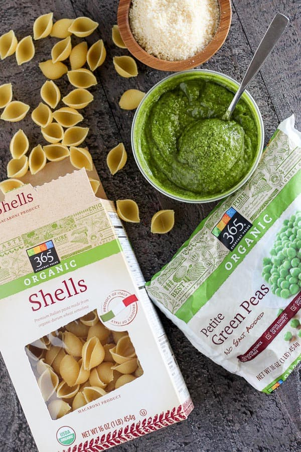 Pasta with Pesto and Peas - A fast and easy one-pot dinner of pasta with store bought basil pesto and peas. Ready in under 30 minutes with 4 basic ingredients.