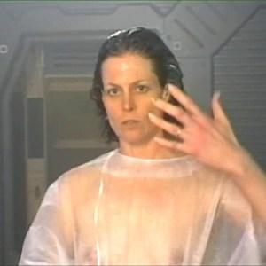 Sigourney Weaver in Alien Resurrection Costume fitting