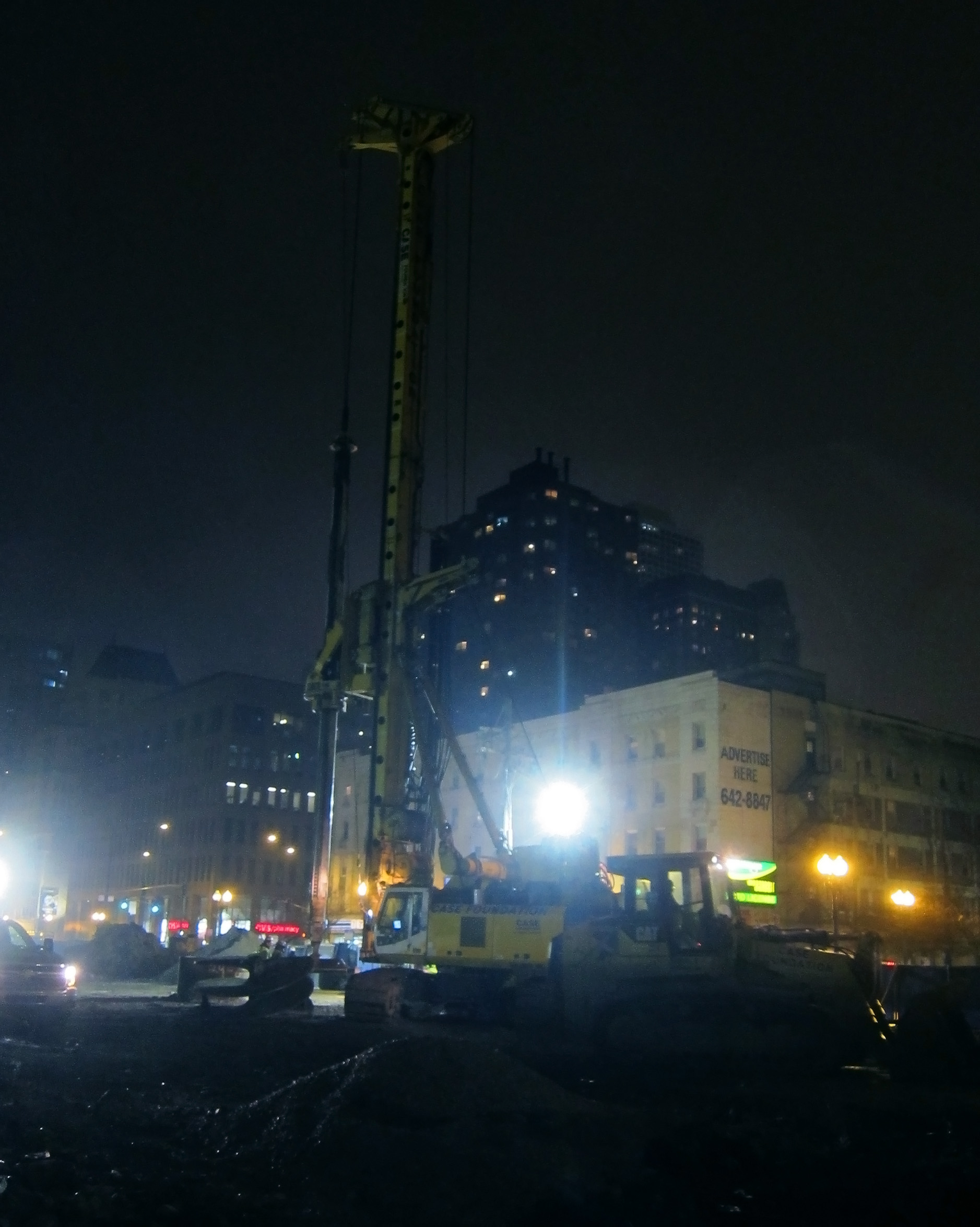 Night-time construction at Clark and Division, Chicago