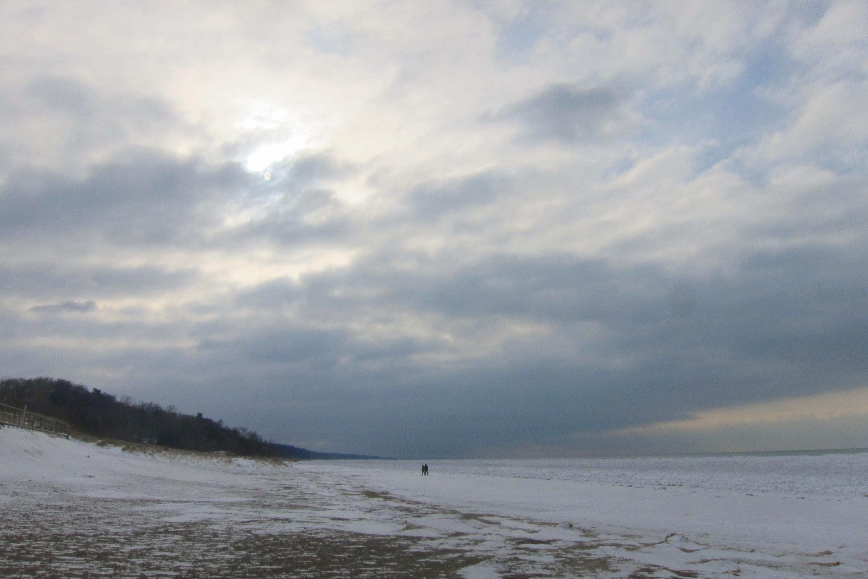 The shore of Lake Michigan in winter.