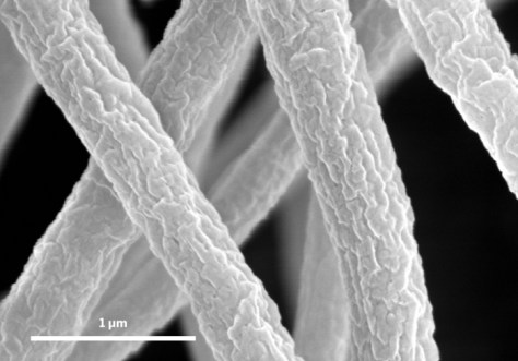 COMPOSITE An electrospinning process blends cellulose nanocrystals and poly(methyl methacrylate) to form strong, lightweight transparent materials. Credit: Hong Dong/Army Research Laboratory