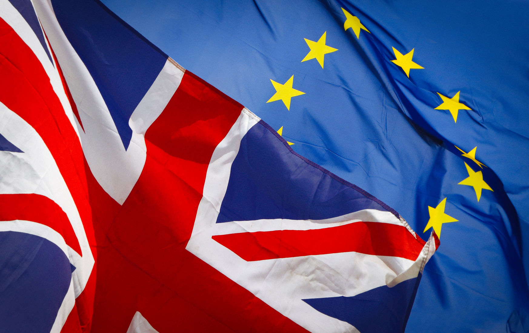 Brexit and flags of UK and EU