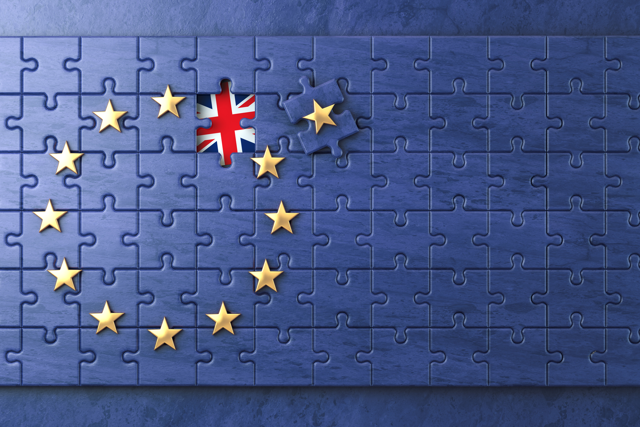 Brexit concept. Puzzle with EU European Union flag  without Great Britain  UK star. 3d illustration