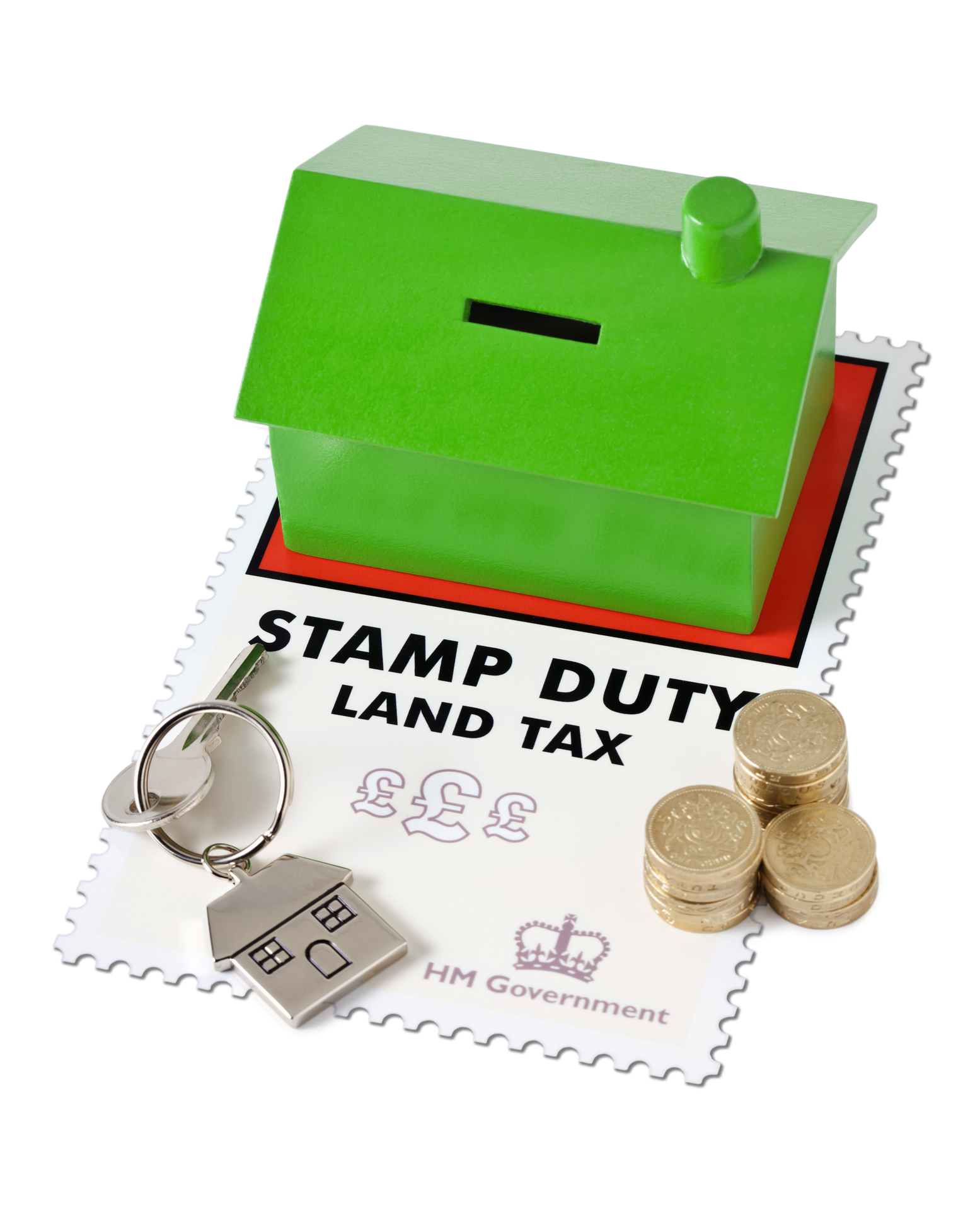 """""""Inspector. Artwork of graphics is mine.  Thanks.   Stamp Duty Land Tax payable to the HM Treasury of HM Government on the purchase of a property. The Tax is payable on all UK property purchased on a percentage of the purchase price over A#125,001. Isolated on White. Good copy space."""""""