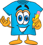 Clip Art Graphic of a Blue Short Sleeved T Shirt Character