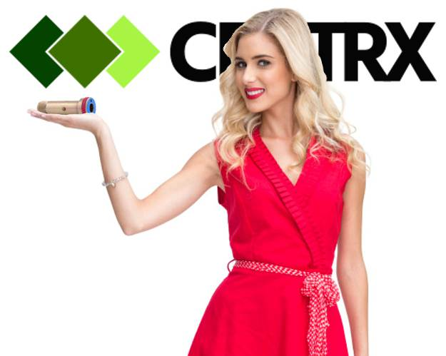 An image of a very attractive blonde woman wearing a bright red dress with her long blonde hair flowing down her shoulders she is holding up a part created by Centrx Inc a pittsburgh area Machined Shop