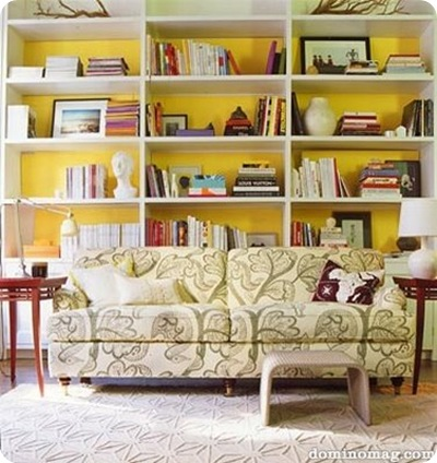 domino yellow backed bookshelf