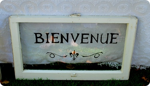 painted french bievenue sign