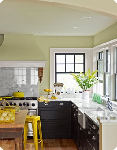country living green walls marble counters