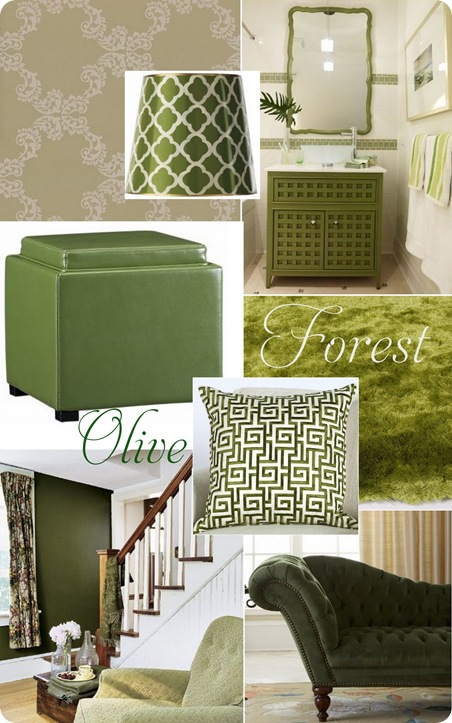 olive and forest collage