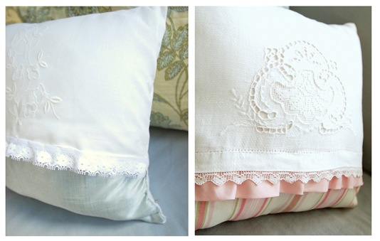 tea towel pillows pair