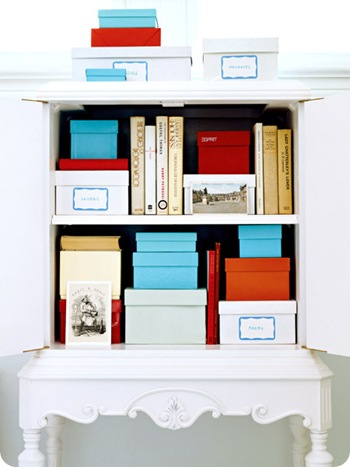 real simple boxes in shelf
