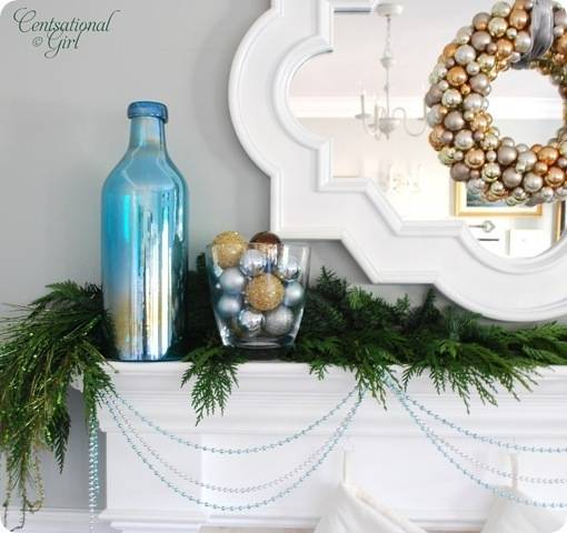 cg blue bottle left side of mantel
