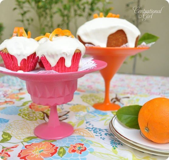cg pink orange dessert stands