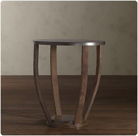 wine barrel side table restoration hardware