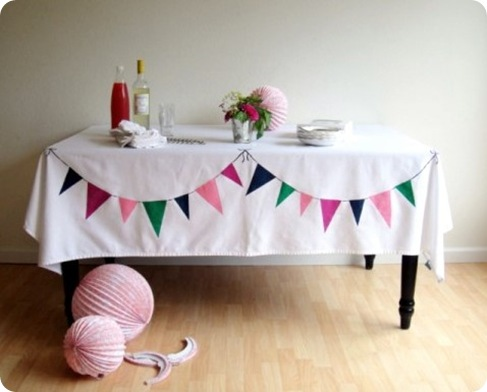 diy bunting tablecloth via creature comforts