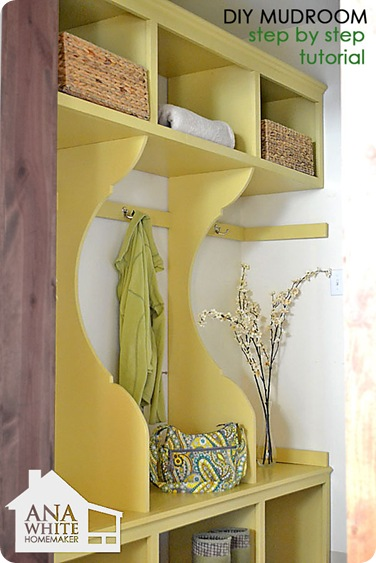 ana white diy mudroom