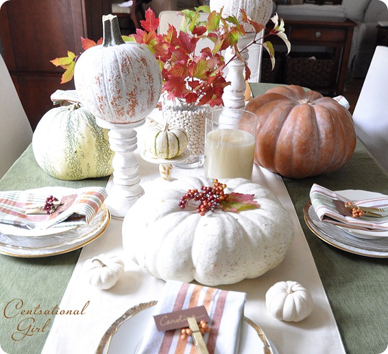 fall tablescape with pumpkins
