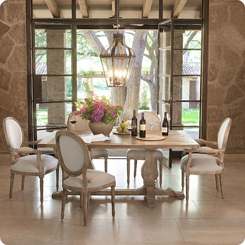 wisteria trestle table stone walls