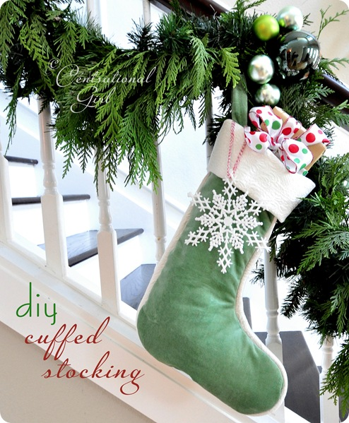 diy velvet cuffed stocking