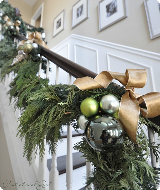 ornaments on green garland