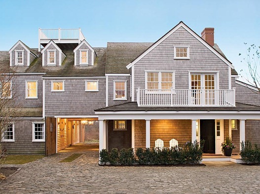 gray shingle style home