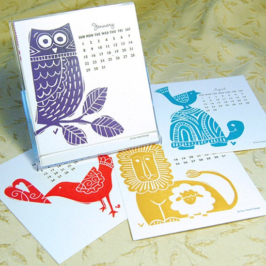 two hand design letterpress calendar