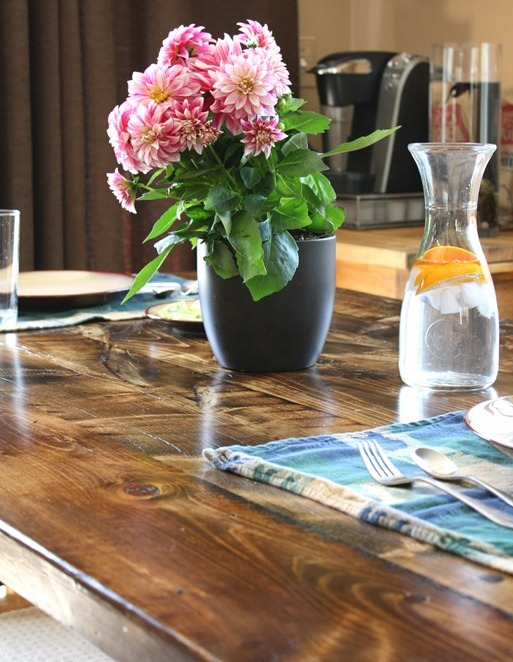 reclaimed wood farm table detail