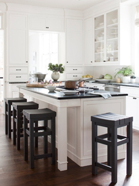 white kitchen black stools country living
