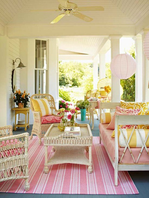 pink on porch bhg