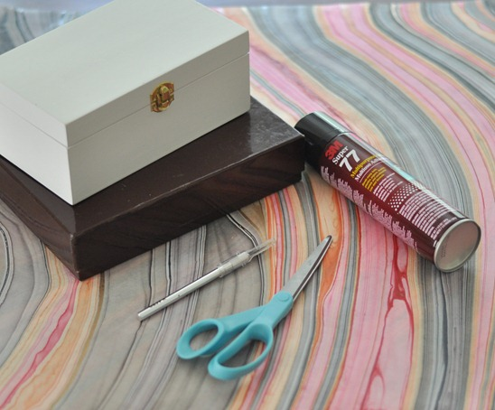 supplies for marbled paper boxes