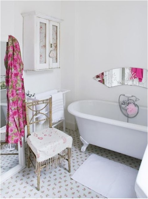 bathroom with pink accents