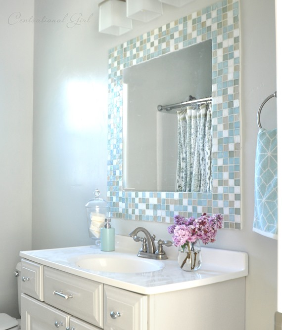 Diy mosaic tile bathroom mirror centsational style for How to make a mirror wall