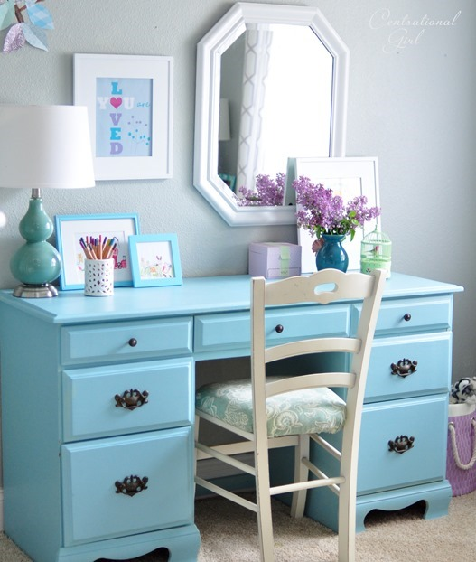 styled blue desk