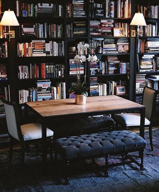dark bookcases tufted bench