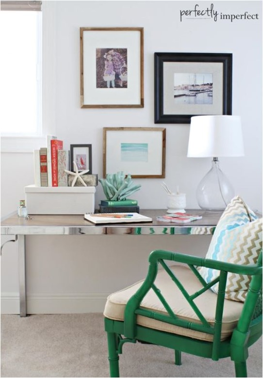 emerald green chair chrome desk perfectlyimperfect