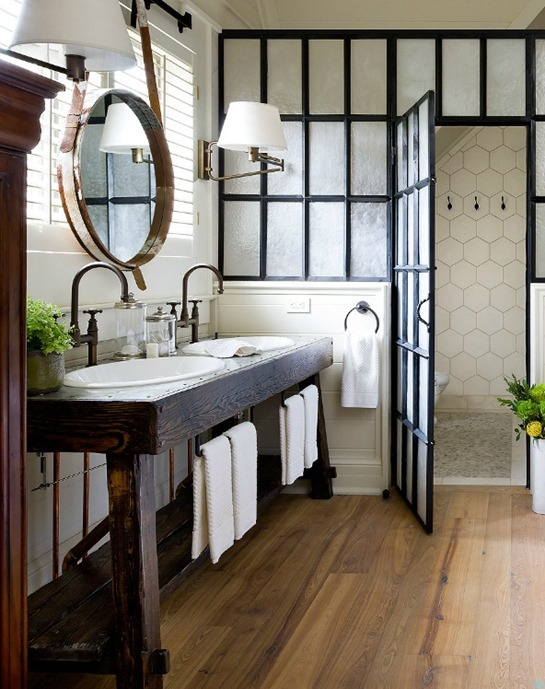 mixed wood tones in bathroom