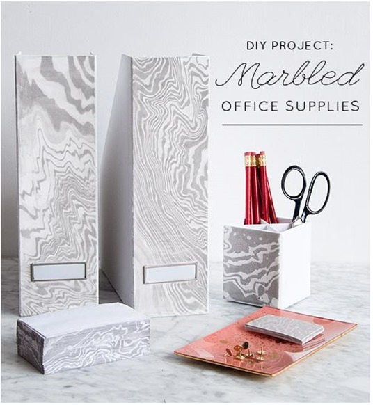 diy marbled office supplies designsponge