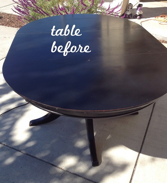 black table before