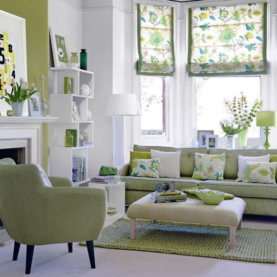 green sofa and accents