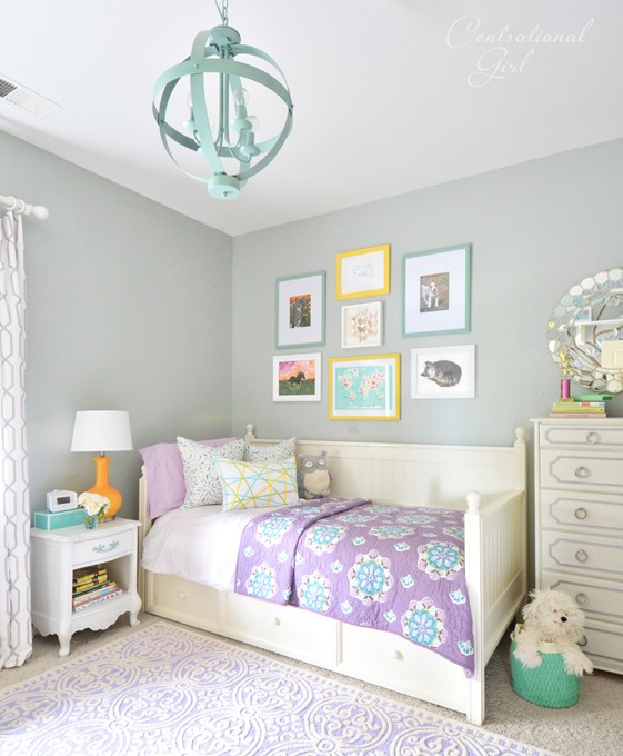 lavender and white girls room