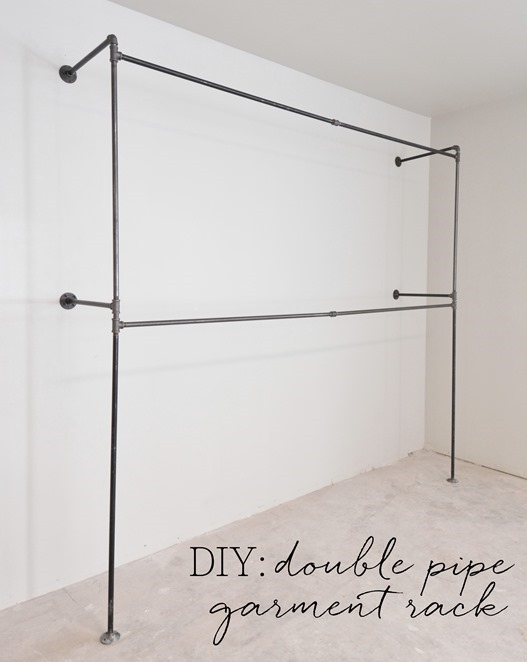 diy double pipe garment rack
