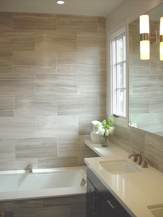 gray plank bathroom tile