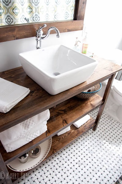 open shelf bathroom vanity