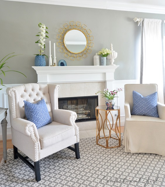 navy and white living room