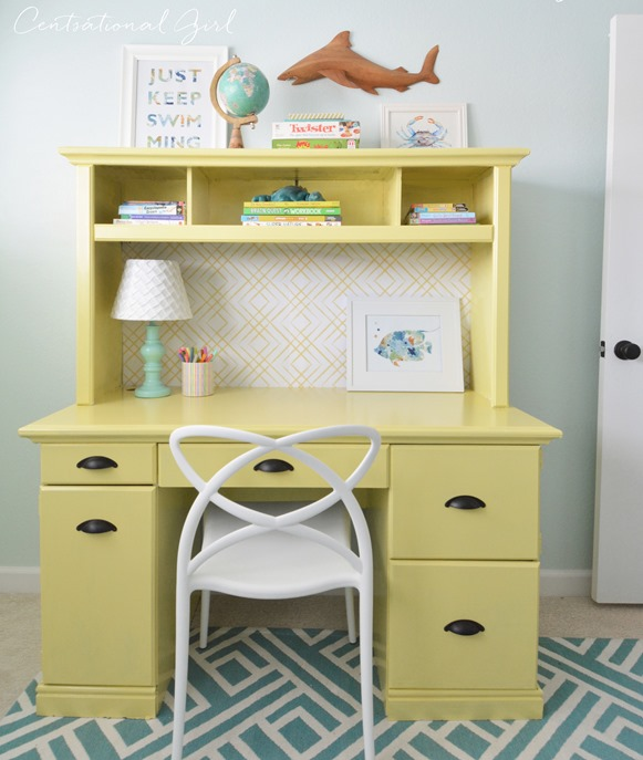 painted yellow desk hutch
